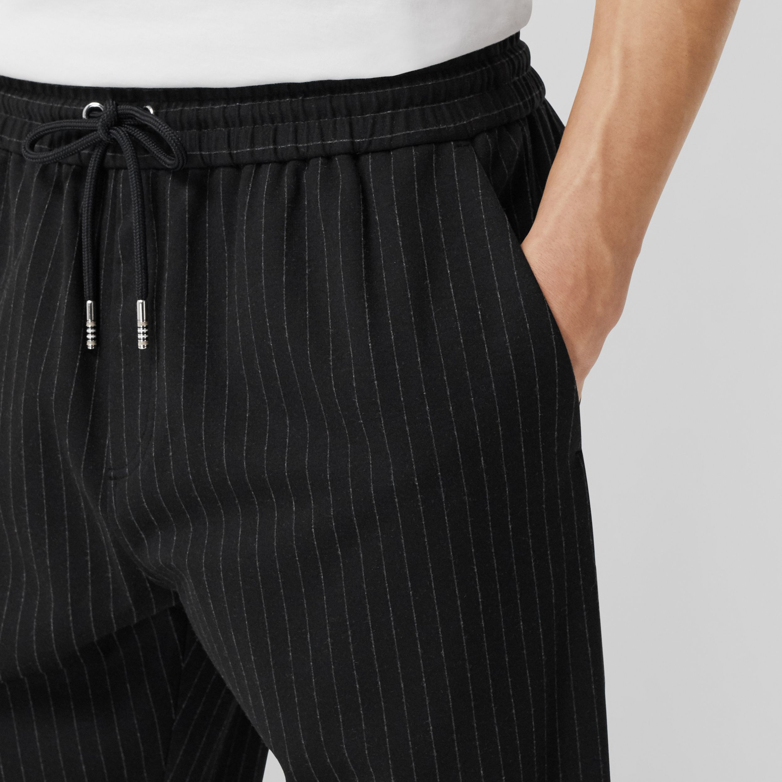 Pinstriped Stretch Jersey Jogging Pants in Black - Men | Burberry - 2
