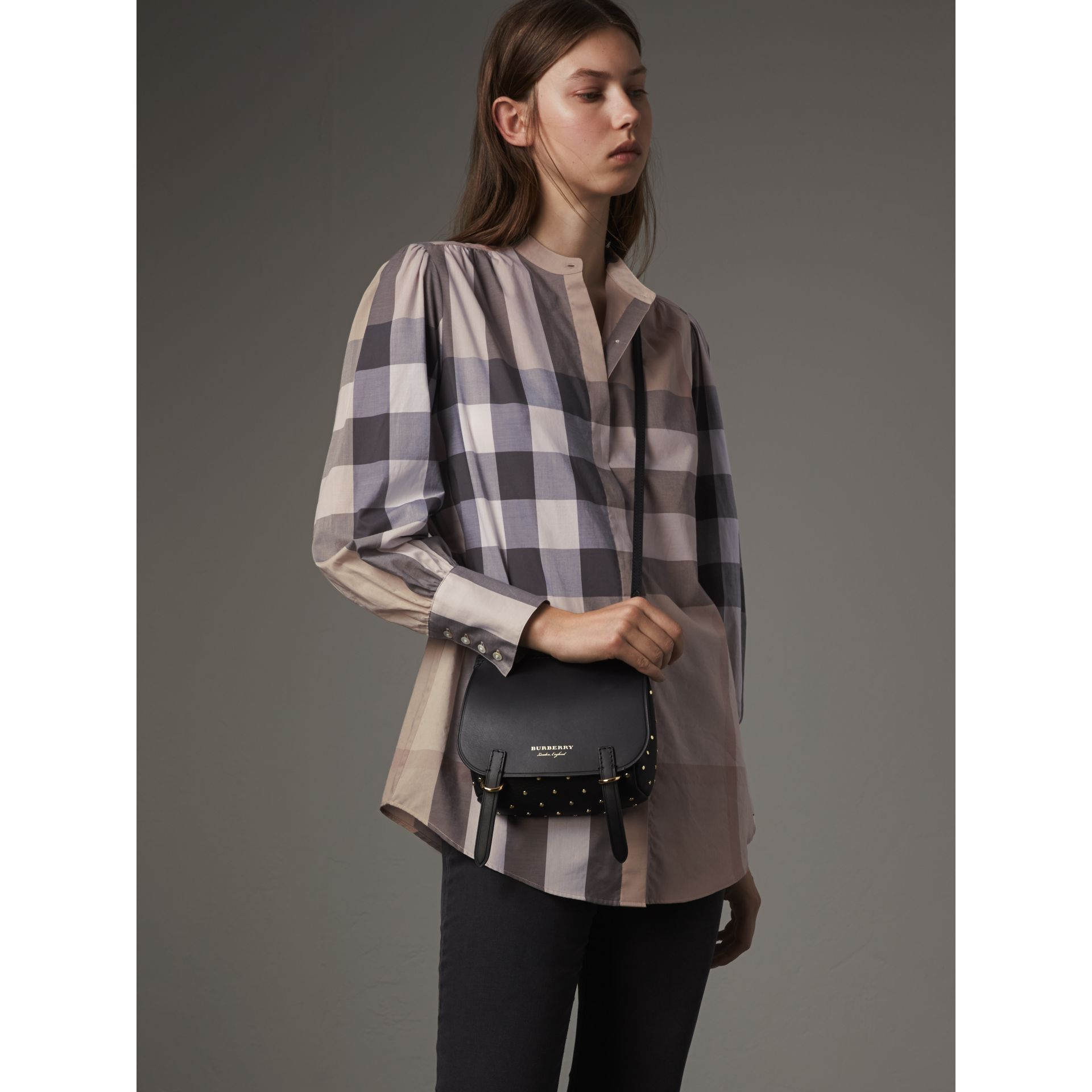 Grandad Collar Check Cotton Tunic Shirt in Pale Stone - Women | Burberry United Kingdom - gallery image 1