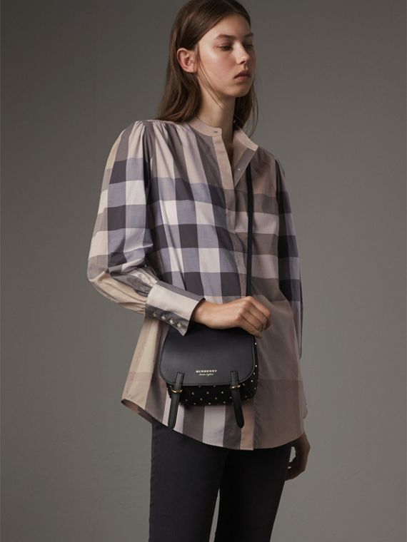 Grandad Collar Check Cotton Tunic Shirt in Pale Stone