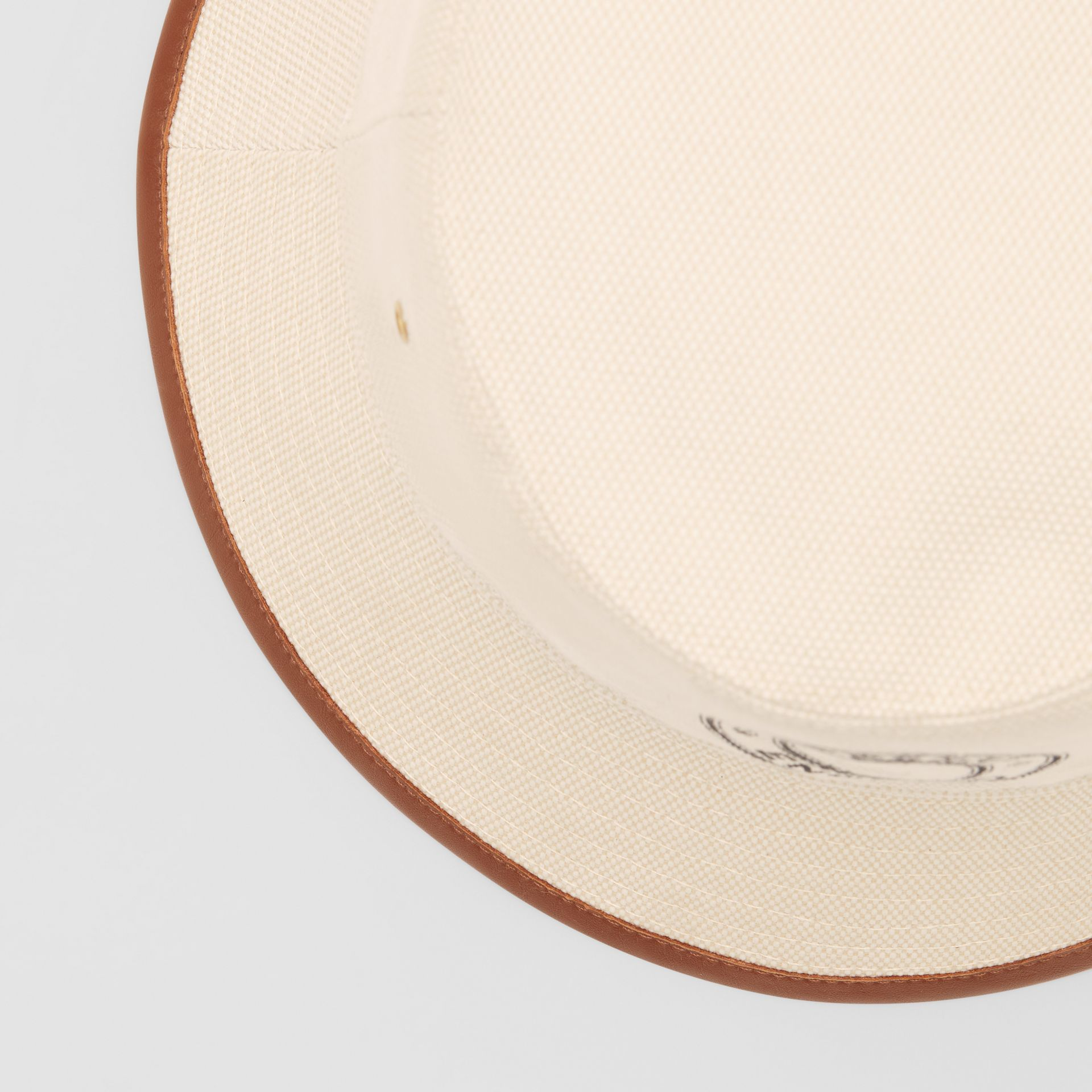 Leather Trim Logo Graphic Canvas Bucket Hat in Beige | Burberry United Kingdom - gallery image 1