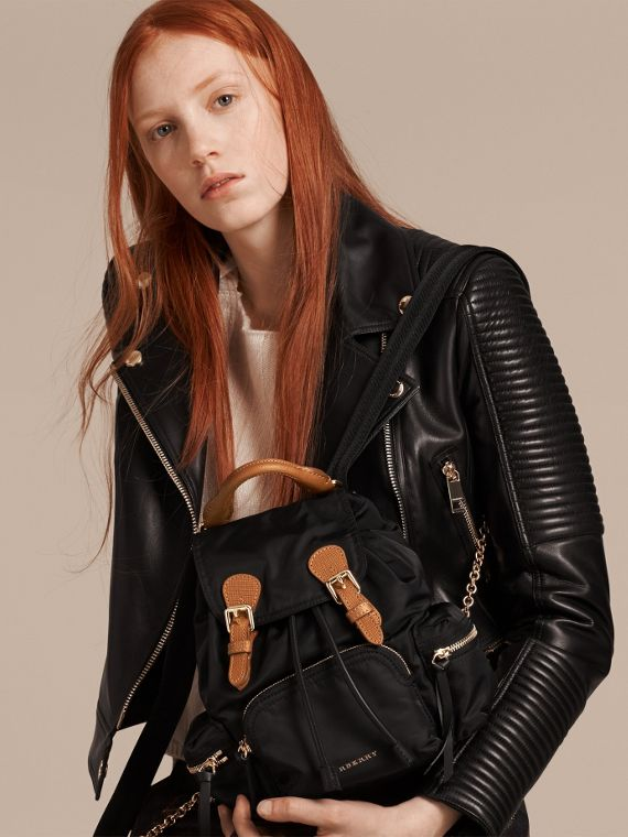 The Small Rucksack in Technical Nylon and Leather in Black - cell image 2
