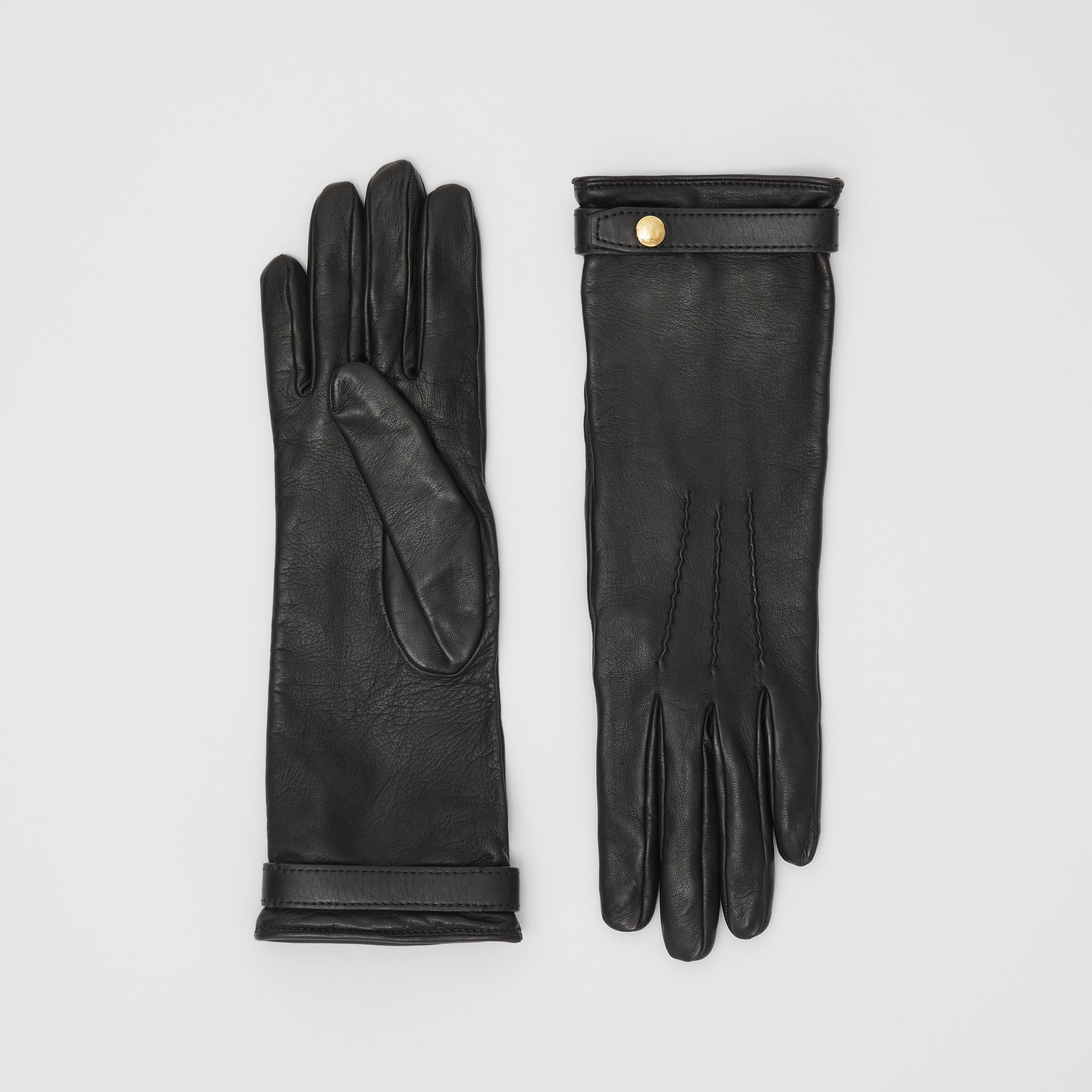 Silk-lined Lambskin Gloves in Black - Women | Burberry United States - gallery image 0