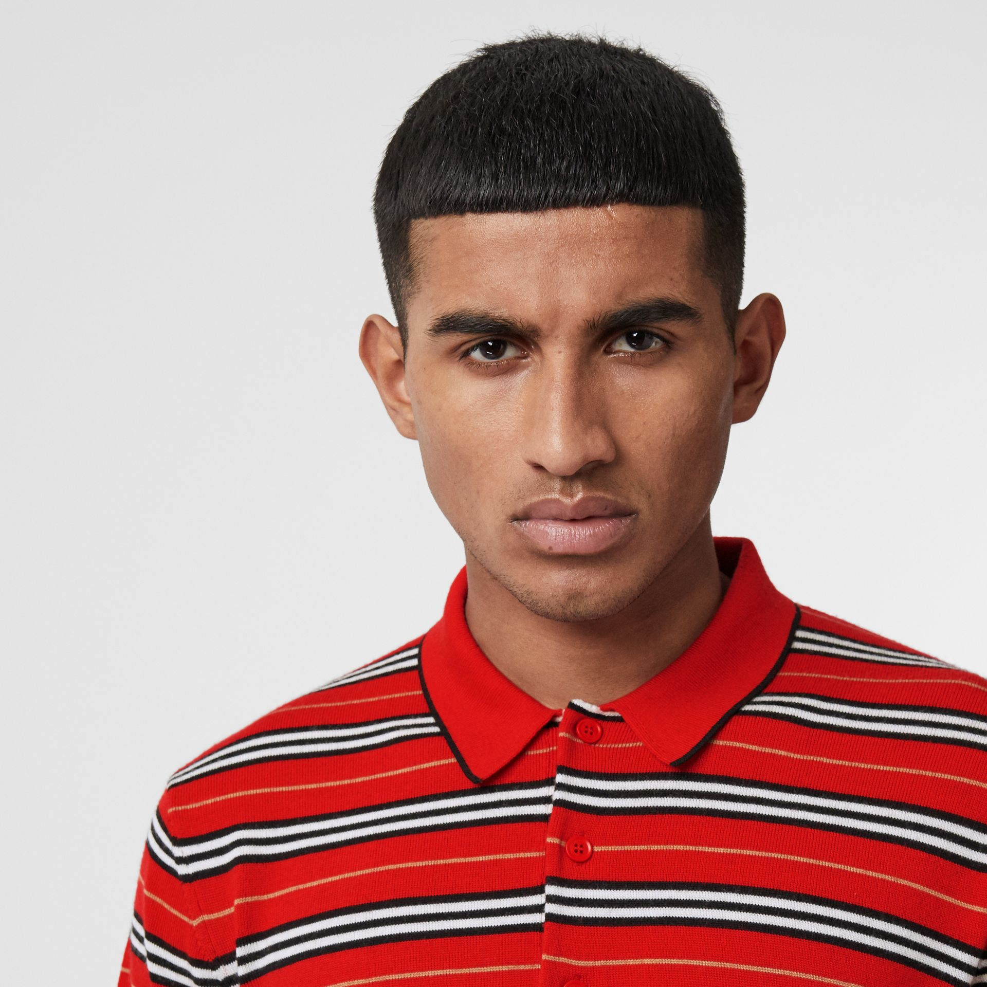 Contrast Stripe Merino Wool Polo Shirt in Bright Red - Men | Burberry Hong Kong - gallery image 1
