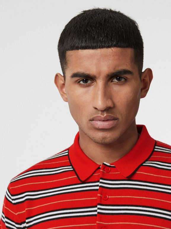 Contrast Stripe Merino Wool Polo Shirt in Bright Red - Men | Burberry - cell image 1