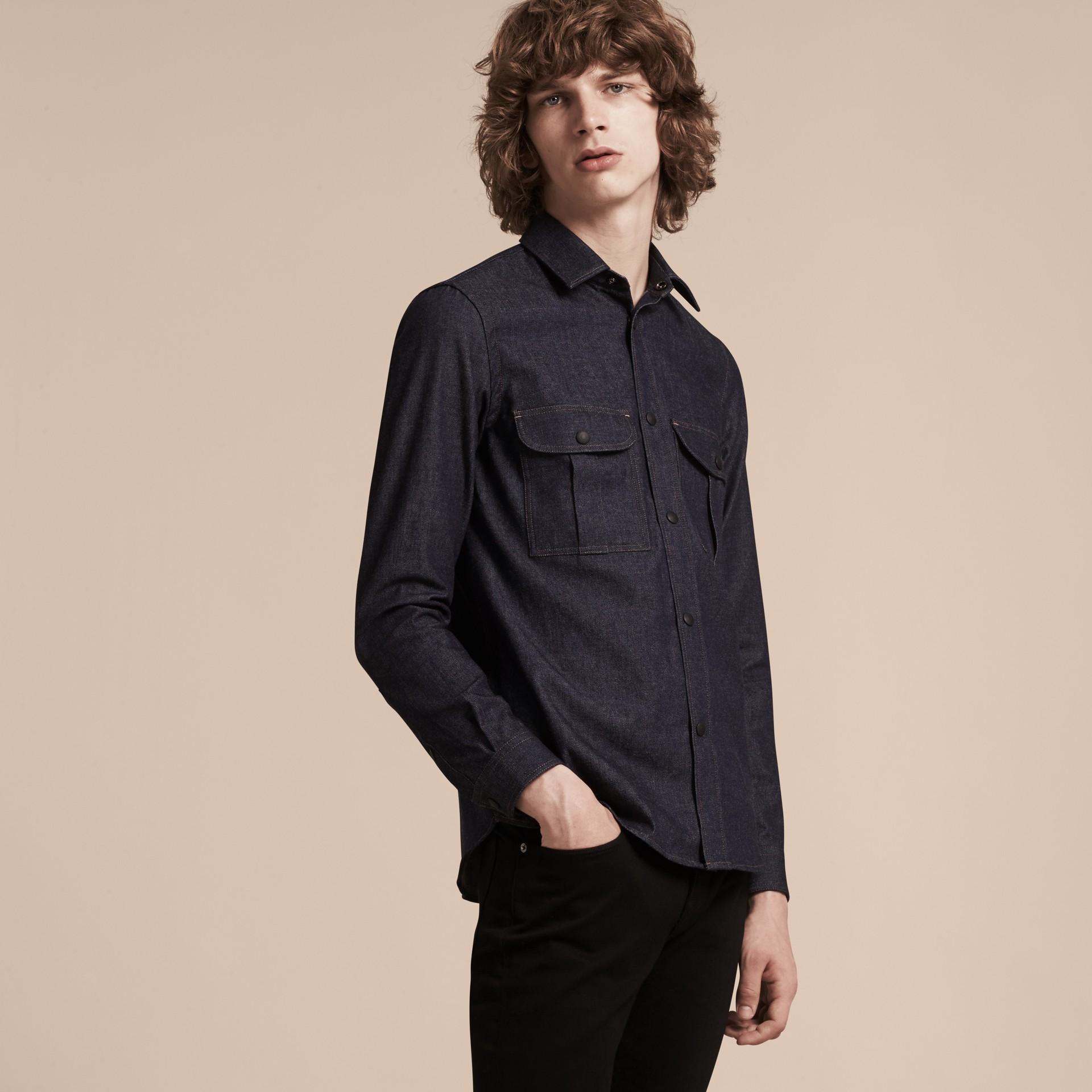 Indigo Slim Fit Japanese Denim Shirt - gallery image 6