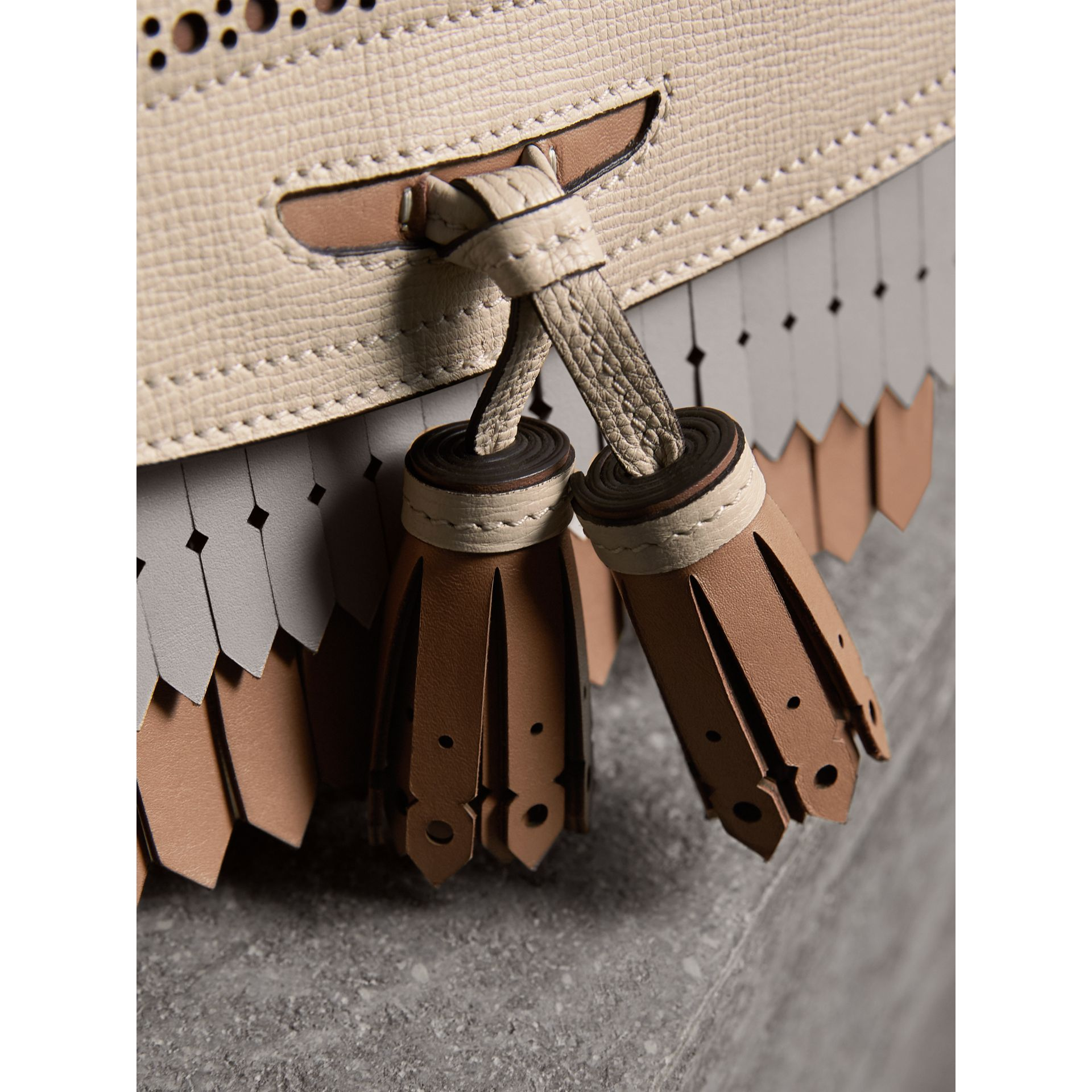 Brogue and Fringe Detail Leather Crossbody Bag in Limestone - Women | Burberry - gallery image 2