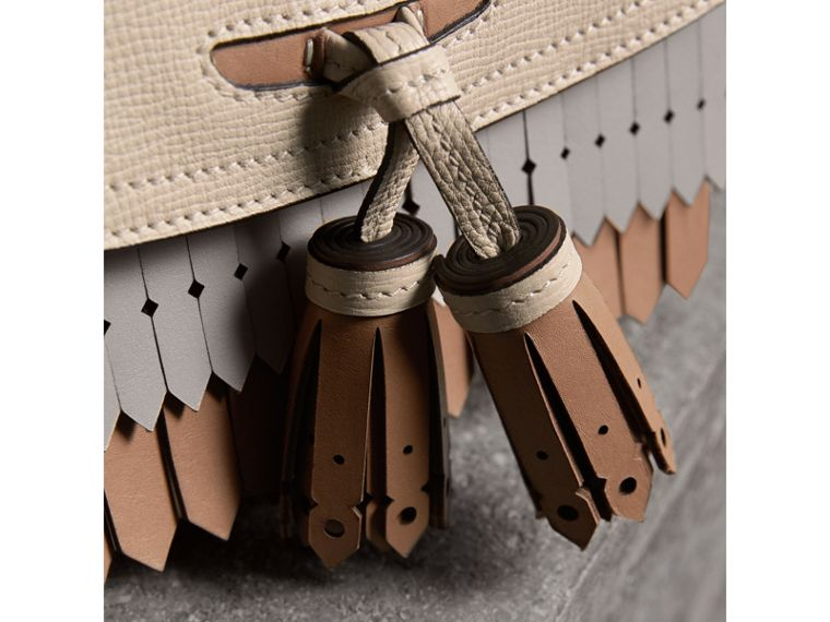 Brogue and Fringe Detail Leather Crossbody Bag in Limestone - Women | Burberry - cell image 1