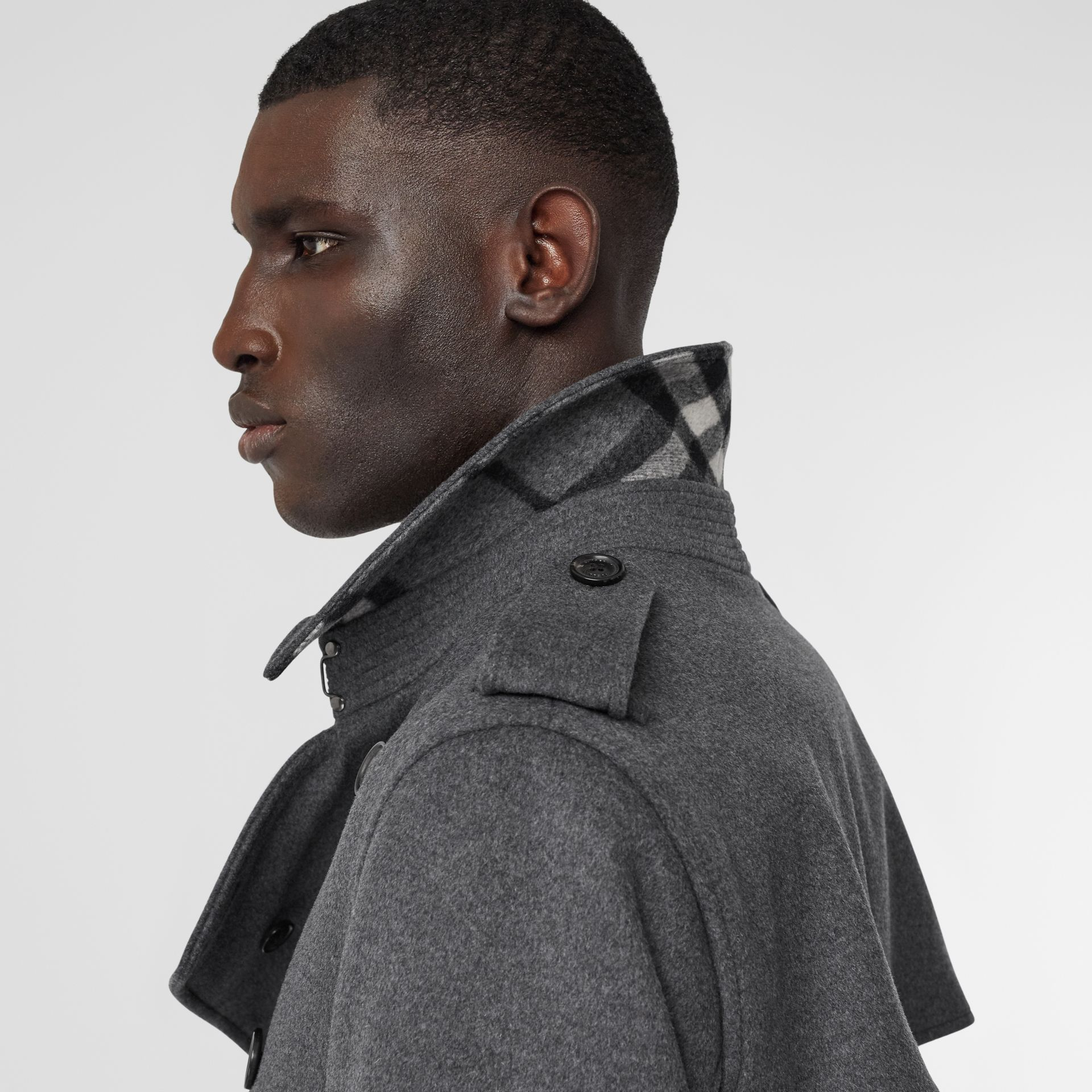 Wool Cashmere Trench Coat in Charcoal - Men | Burberry - gallery image 1