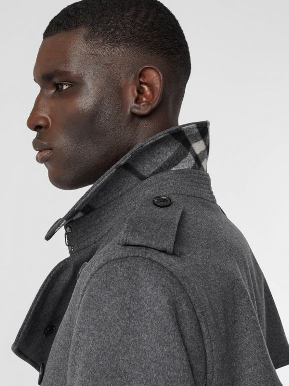 Wool Cashmere Trench Coat in Charcoal - Men | Burberry Hong Kong S.A.R - cell image 1
