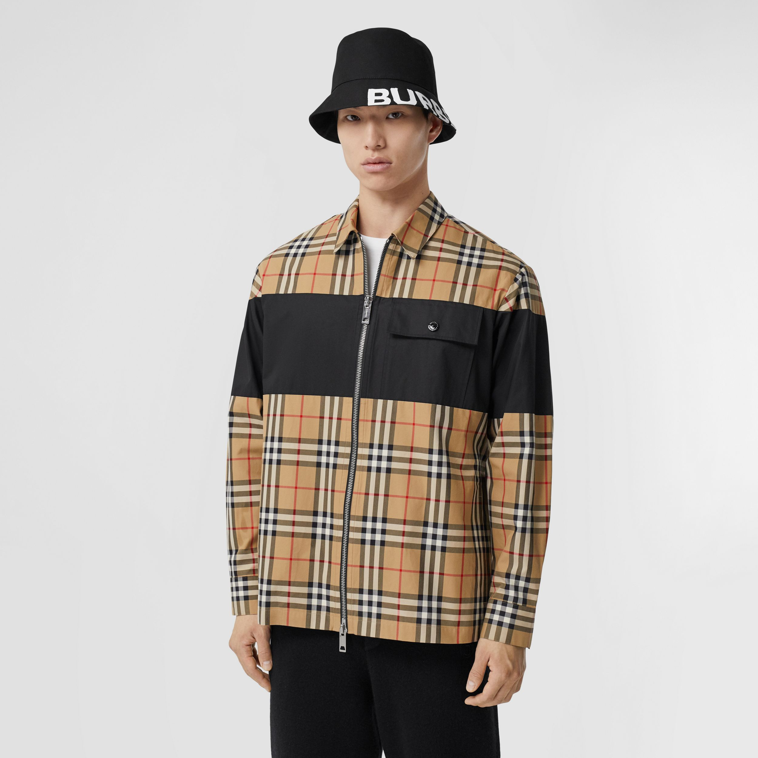 Contrast Panel Check Cotton Shirt in Archive Beige - Men | Burberry - 1