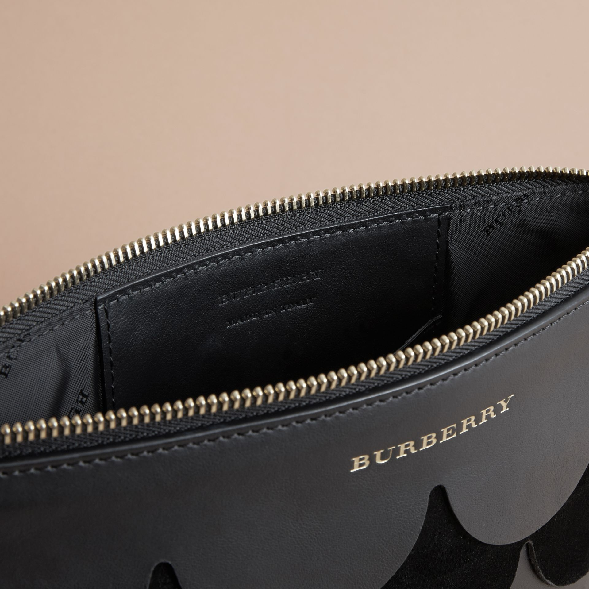 Two-tone Scalloped Leather and Suede Clutch Bag in Black - Women | Burberry - gallery image 6