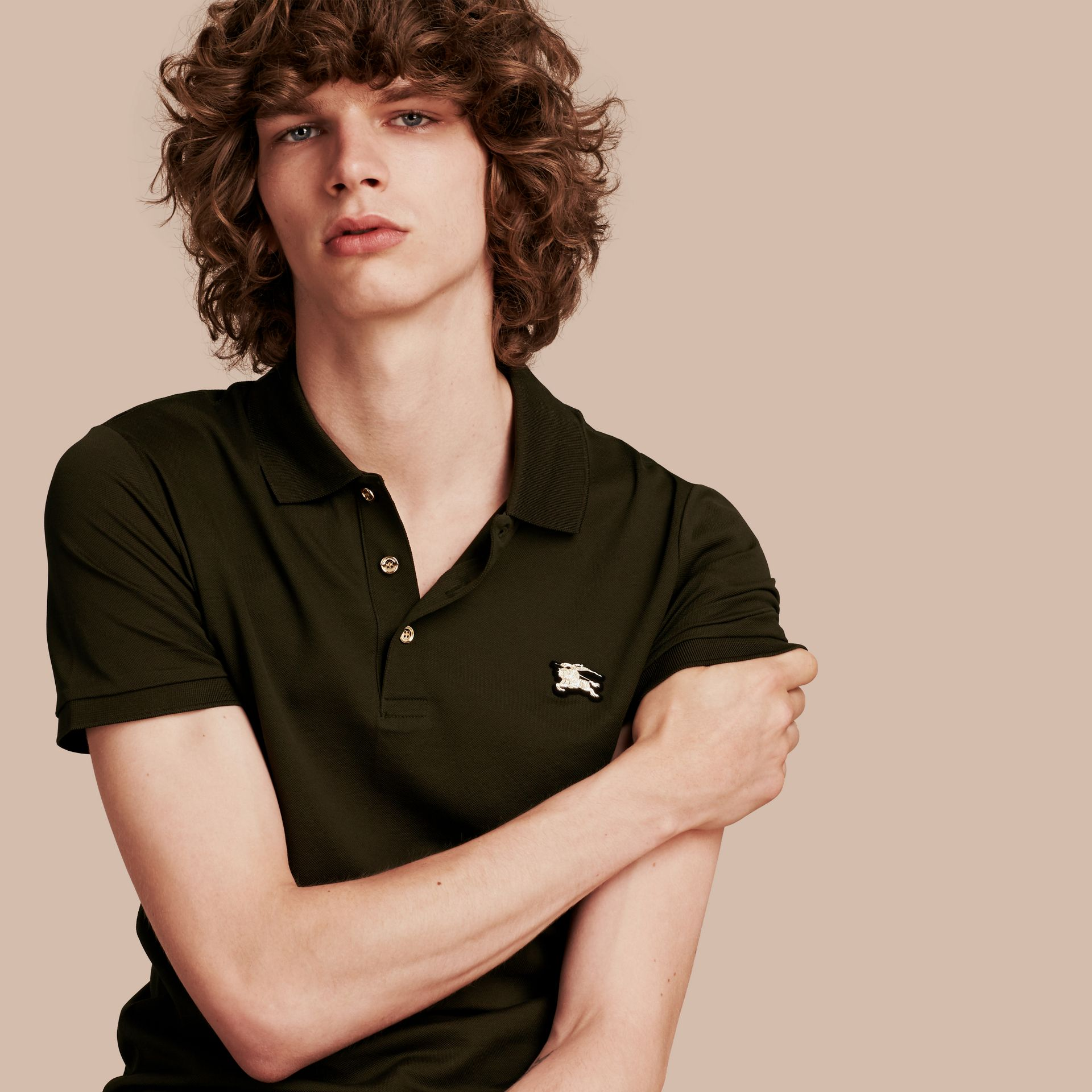 Oregano Fitted Mercerised Cotton-Piqué Polo Shirt Oregano - gallery image 1