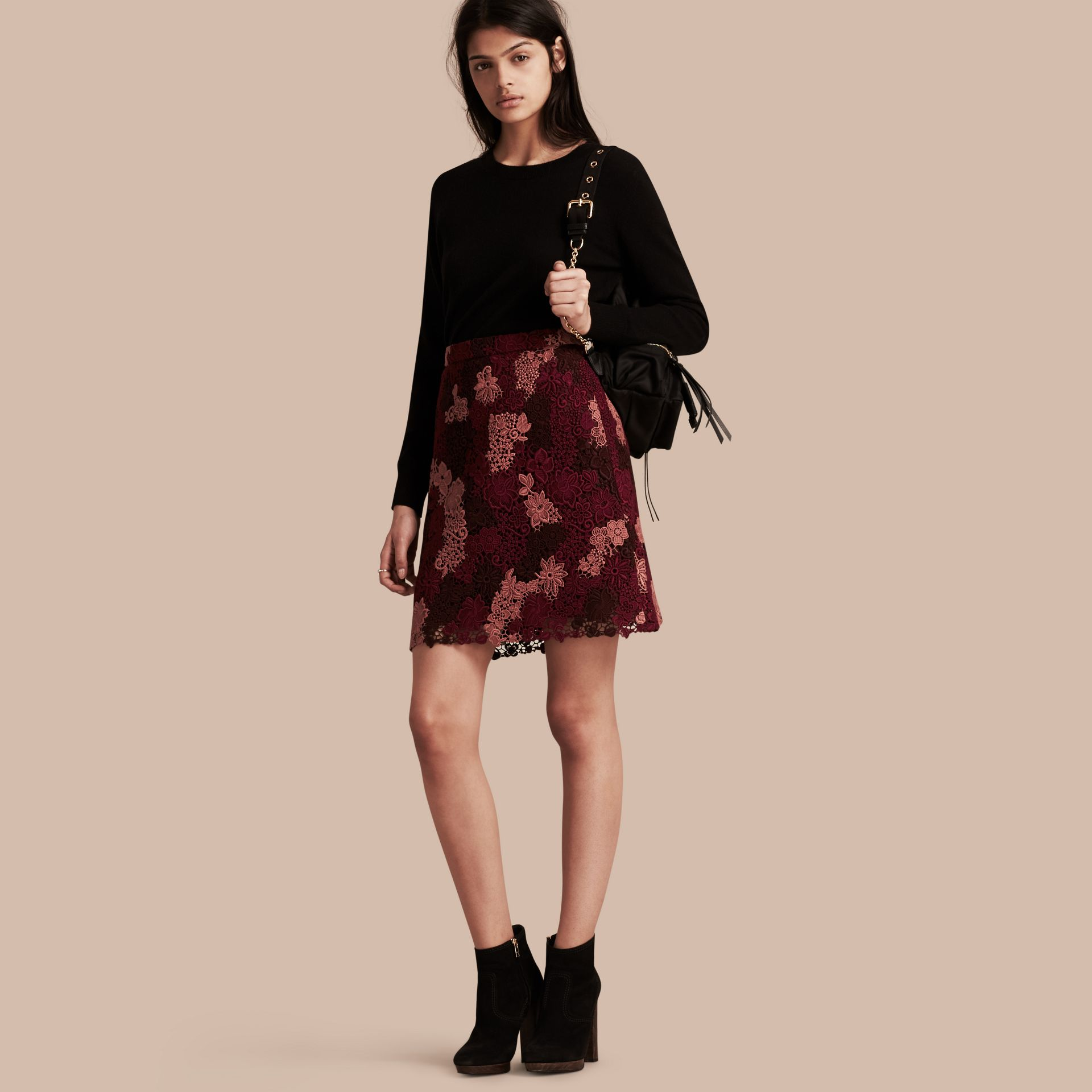 Deep claret Floral Italian Macramé Lace Skirt - gallery image 1