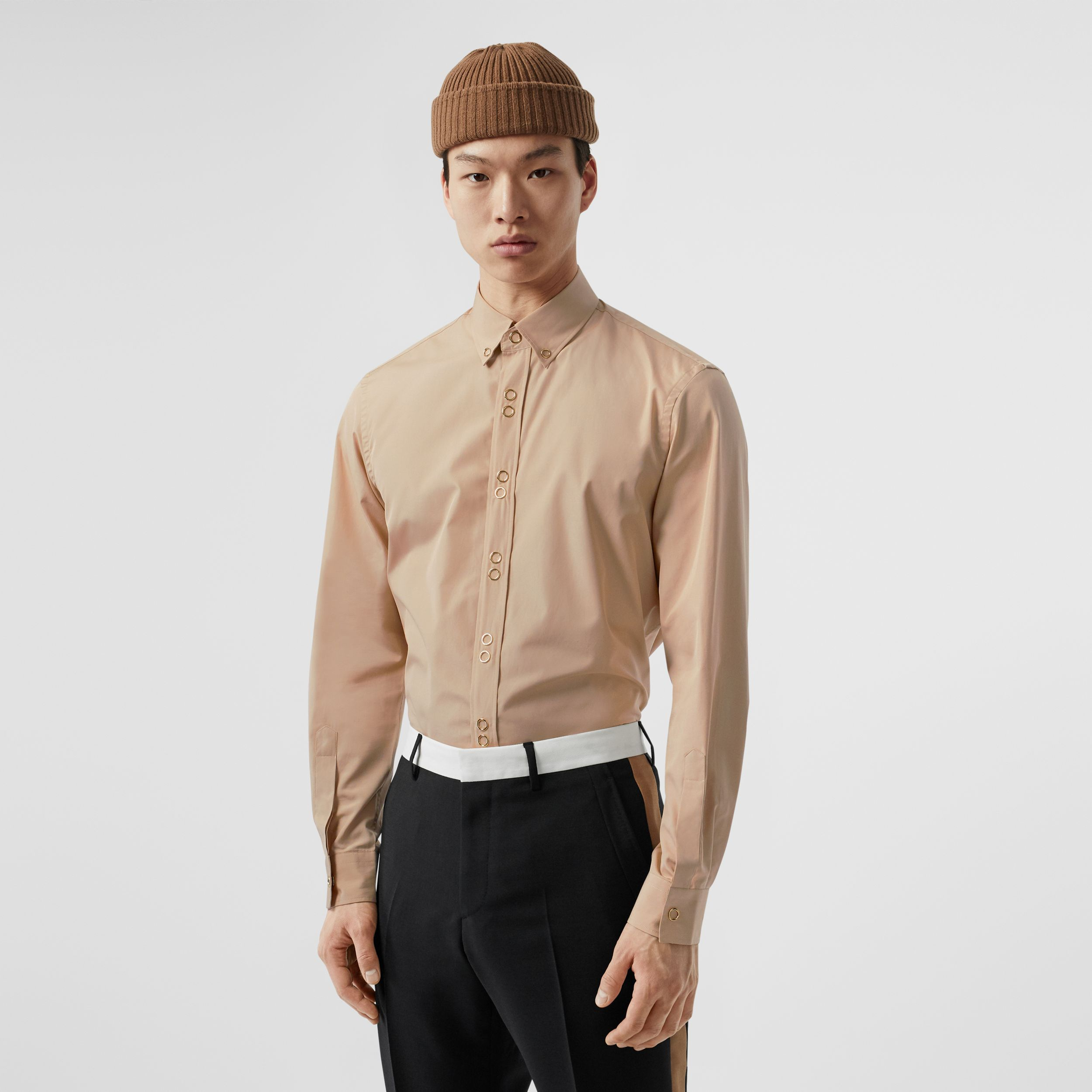 Classic Fit Double Press-stud Cotton Shirt in Soft Fawn - Men | Burberry - 1
