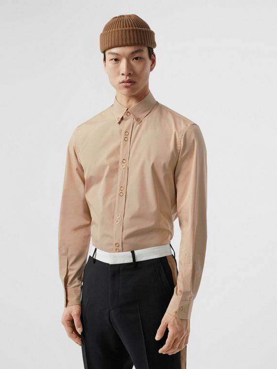 Classic Fit Double Press-stud Cotton Shirt in Soft Fawn