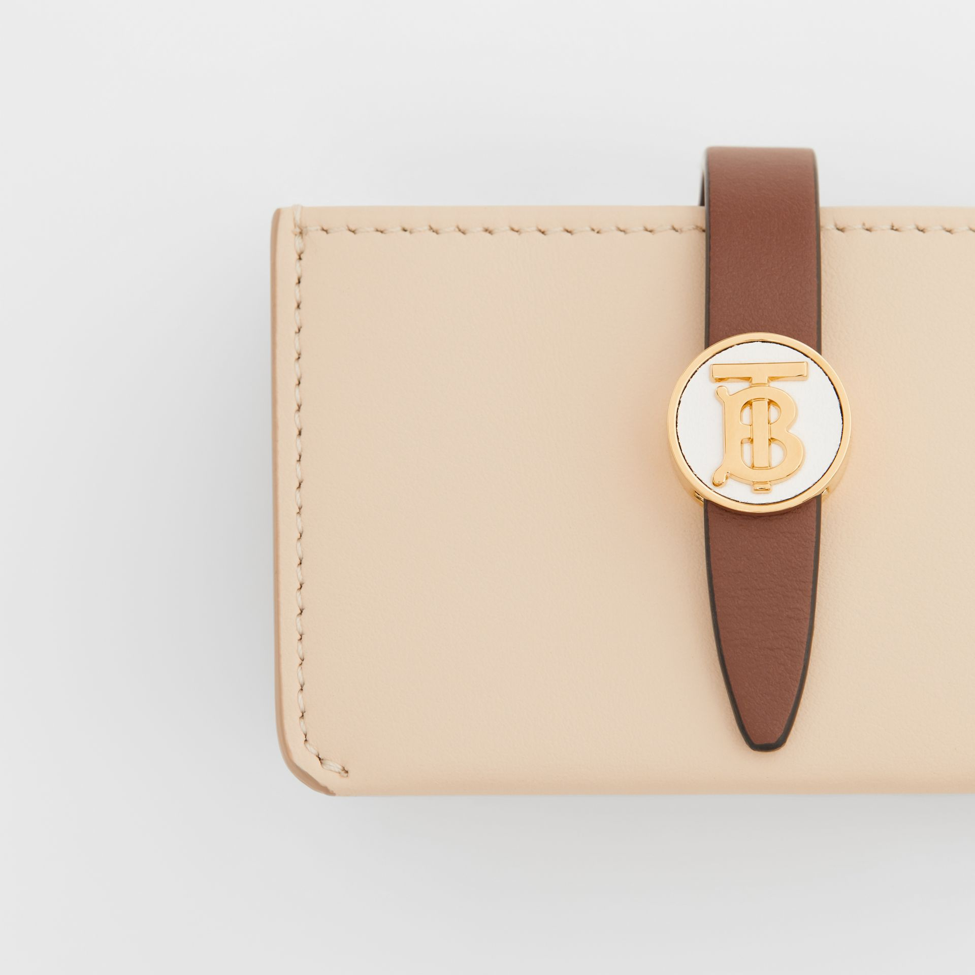 Monogram Motif Colour Block Leather Card Case in Tan/pale Copper/peony Pink - Women | Burberry - gallery image 1