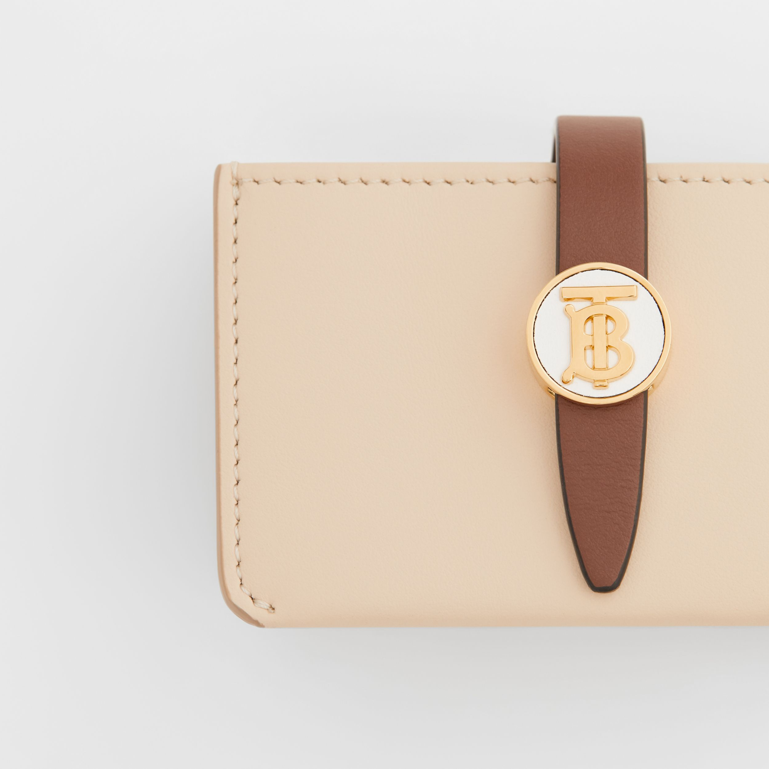Monogram Motif Colour Block Leather Card Case in Tan/pale Copper/peony Pink - Women | Burberry - 2