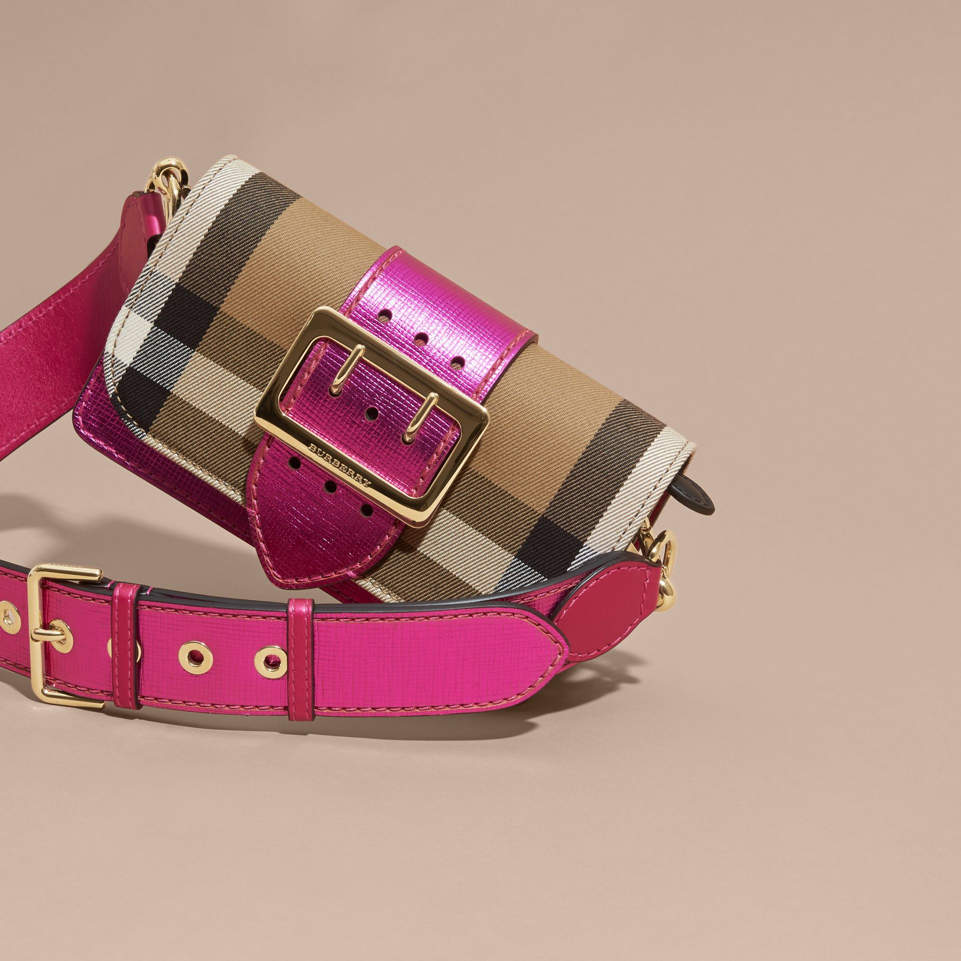 The Small Buckle Bag in House Check and Leather in Bright Pink - gallery image 8