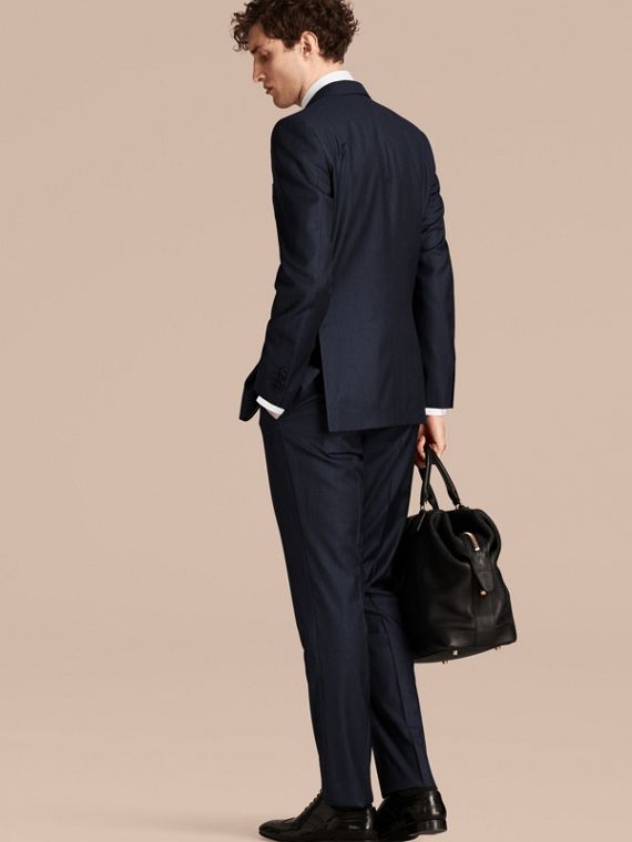 Navy Modern Fit Micro Check Part-canvas Suit - cell image 2