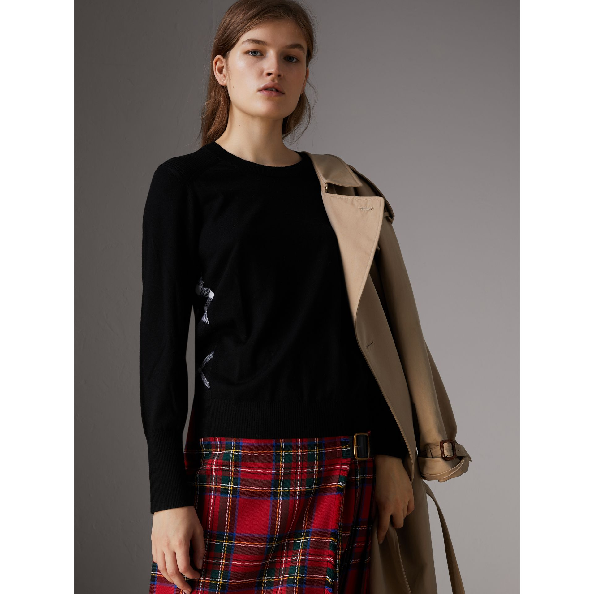 Check Detail Merino Wool Sweater in Black - Women | Burberry - gallery image 0