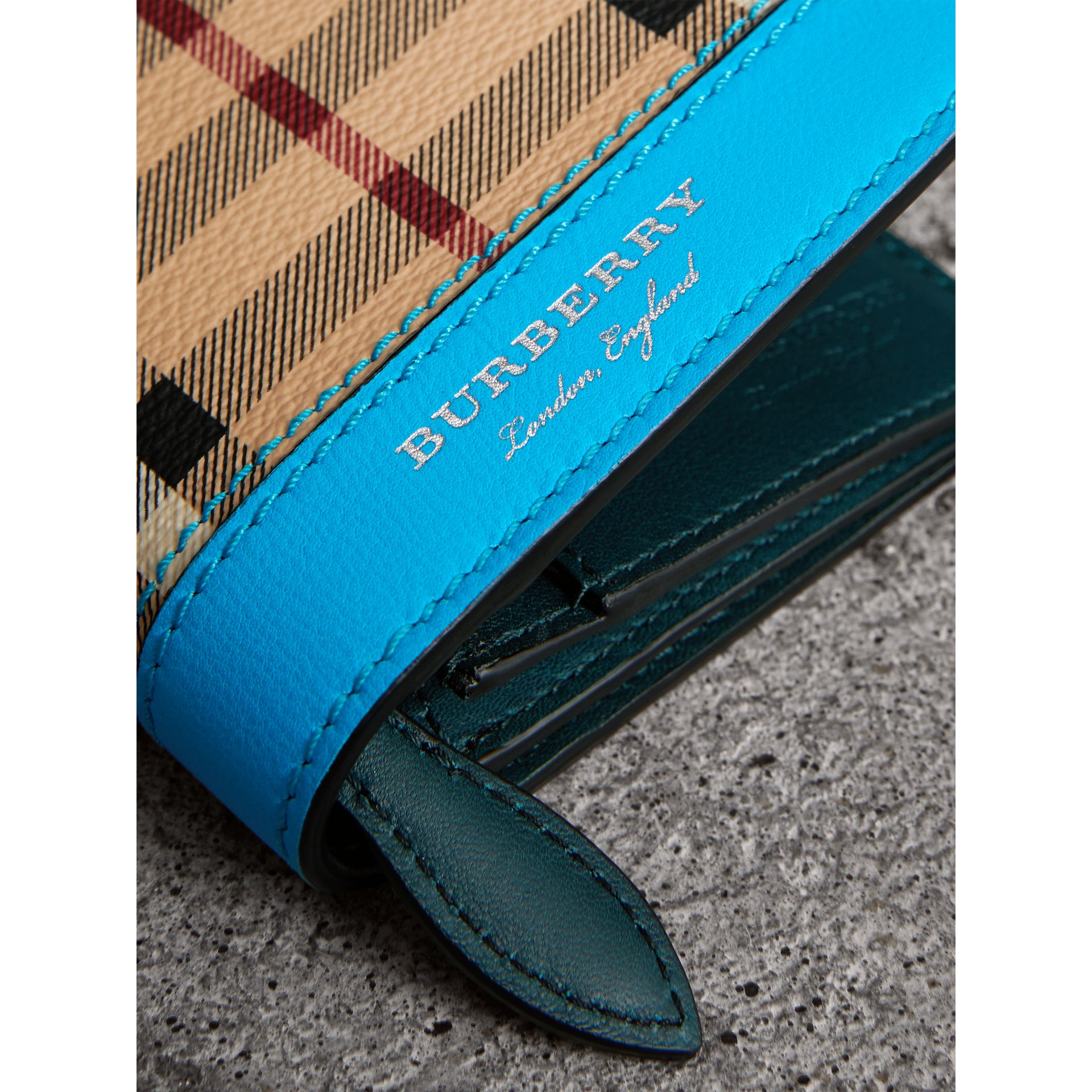 Haymarket Check and Leather Continental Wallet in Bright Blue - Men | Burberry - gallery image 1