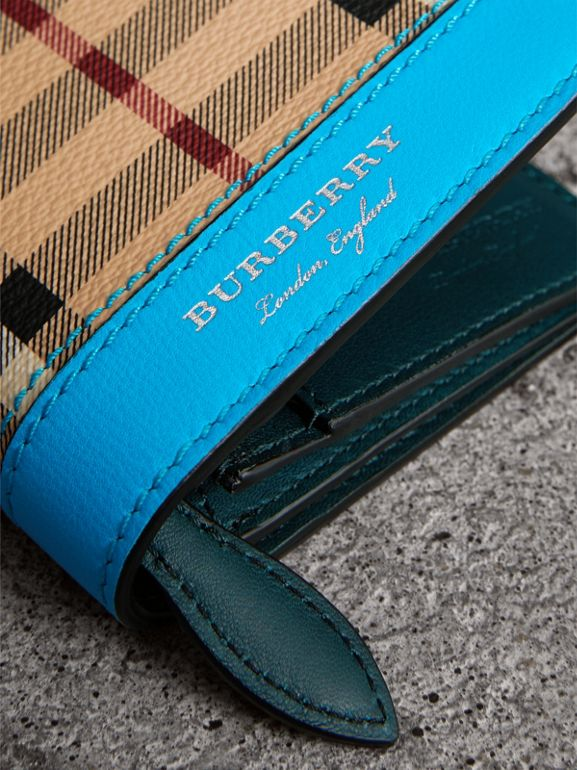Haymarket Check and Leather Continental Wallet in Bright Blue - Men | Burberry - cell image 1