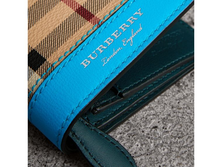 Haymarket Check and Leather Continental Wallet in Bright Blue - Men | Burberry Australia - cell image 1