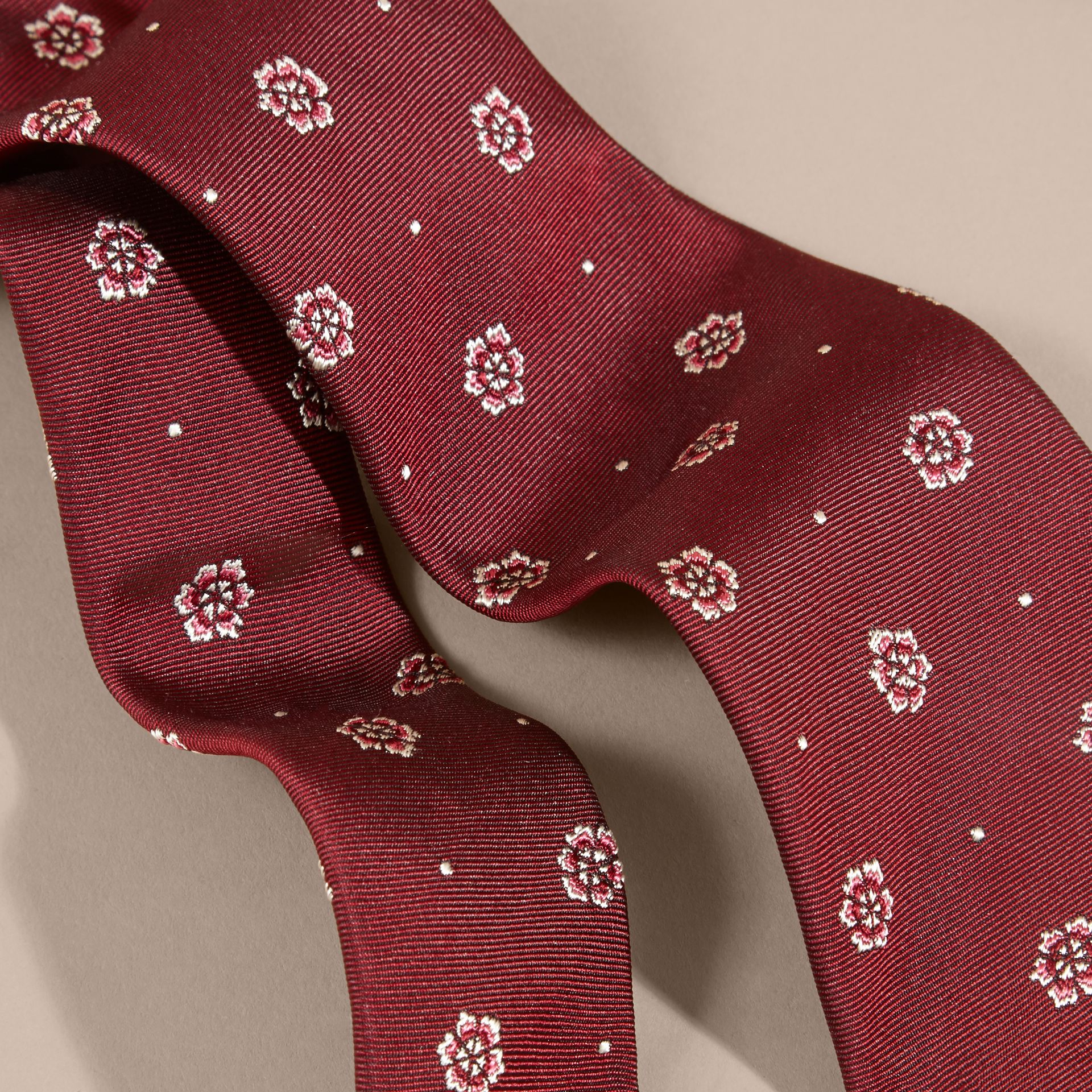 Deep claret Modern Cut Floral and Spot Jacquard Silk Tie - gallery image 2