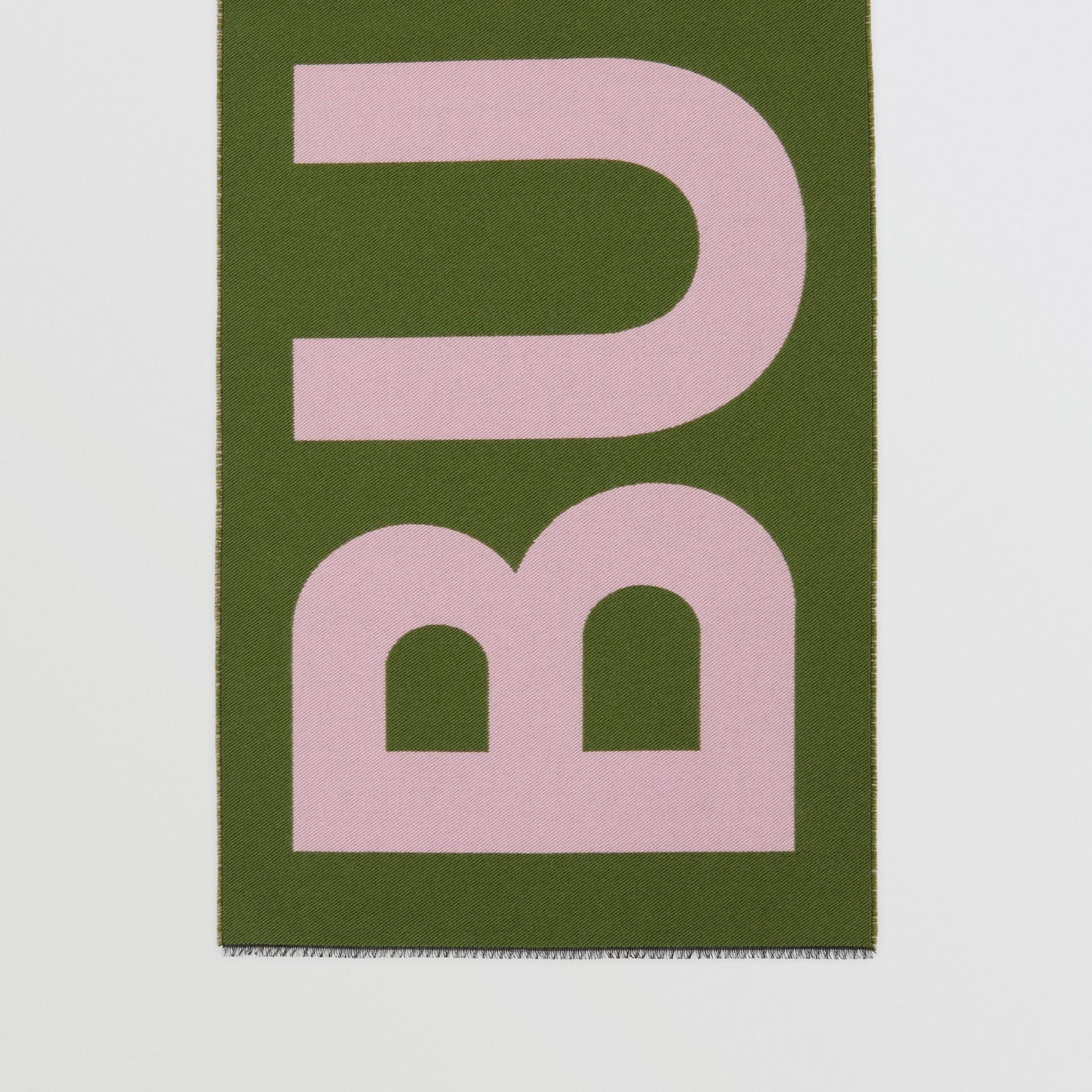 Logo Wool Silk Jacquard Scarf in Cedar Green | Burberry United Kingdom - gallery image 3