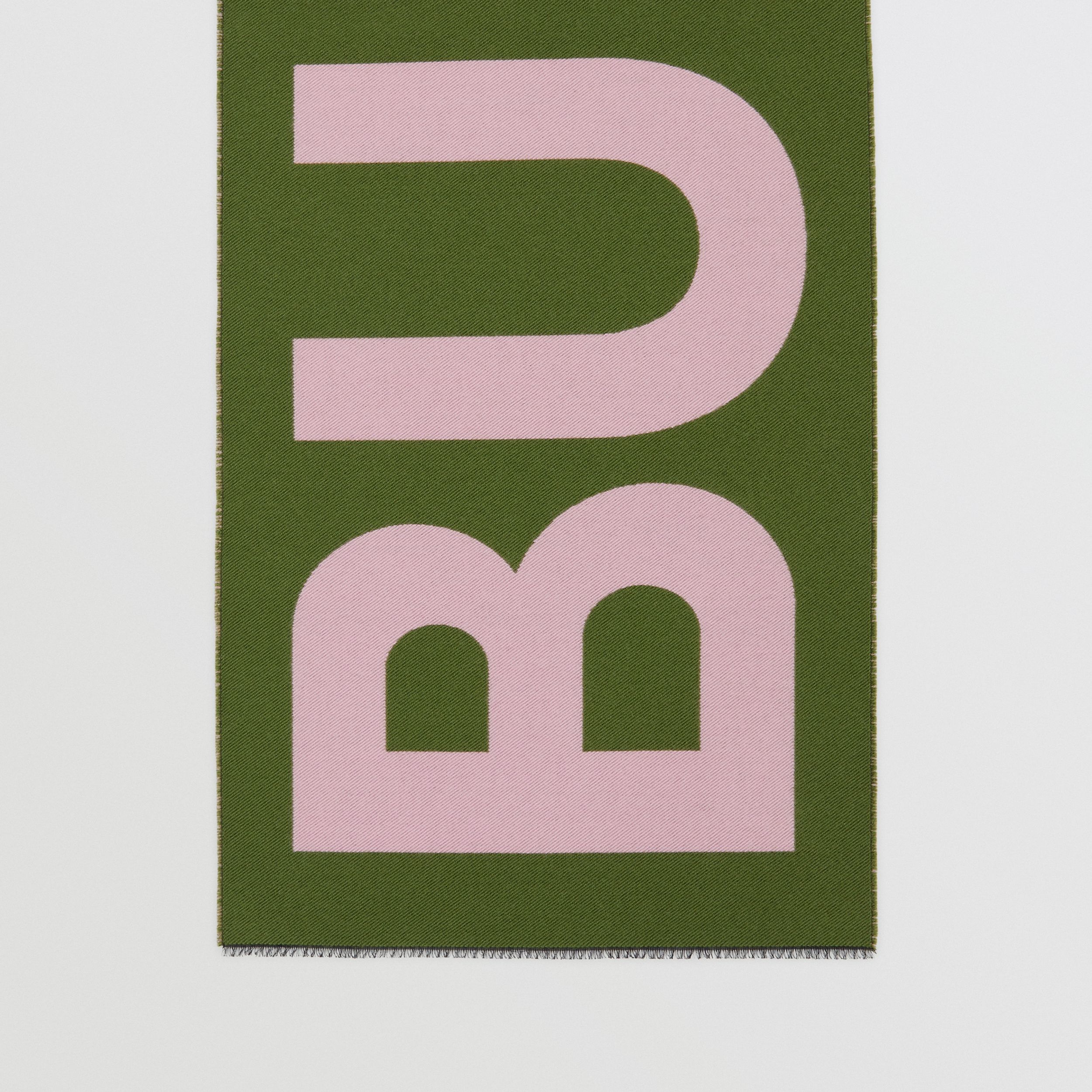 Logo Wool Silk Jacquard Scarf in Cedar Green | Burberry - 4