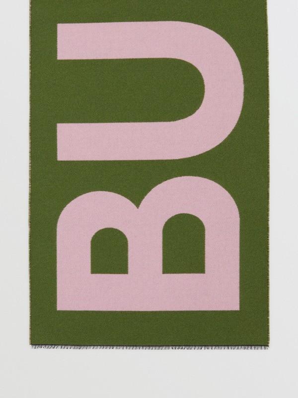 Logo Wool Silk Jacquard Scarf in Cedar Green | Burberry United Kingdom - cell image 3