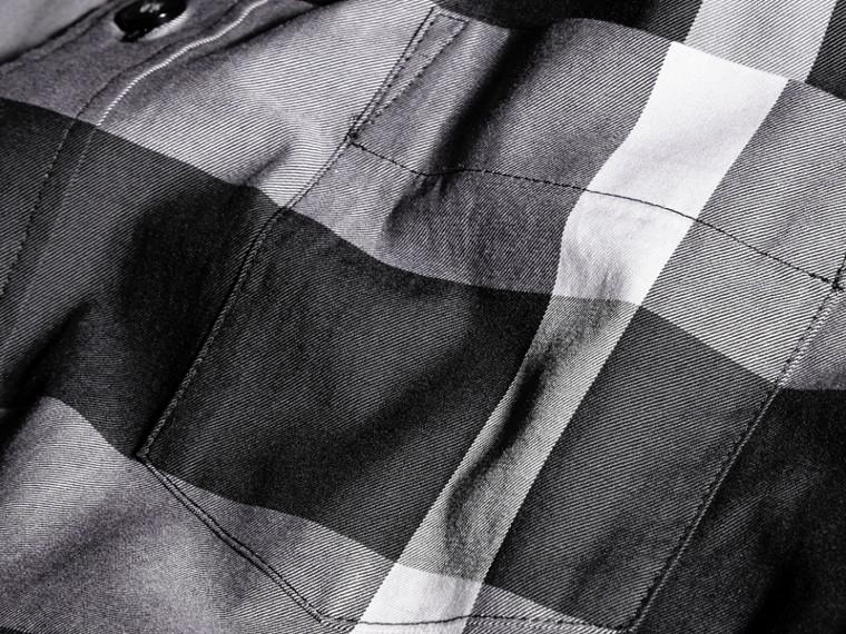 Nero Camicia in cotone con motivo check Nero - cell image 1