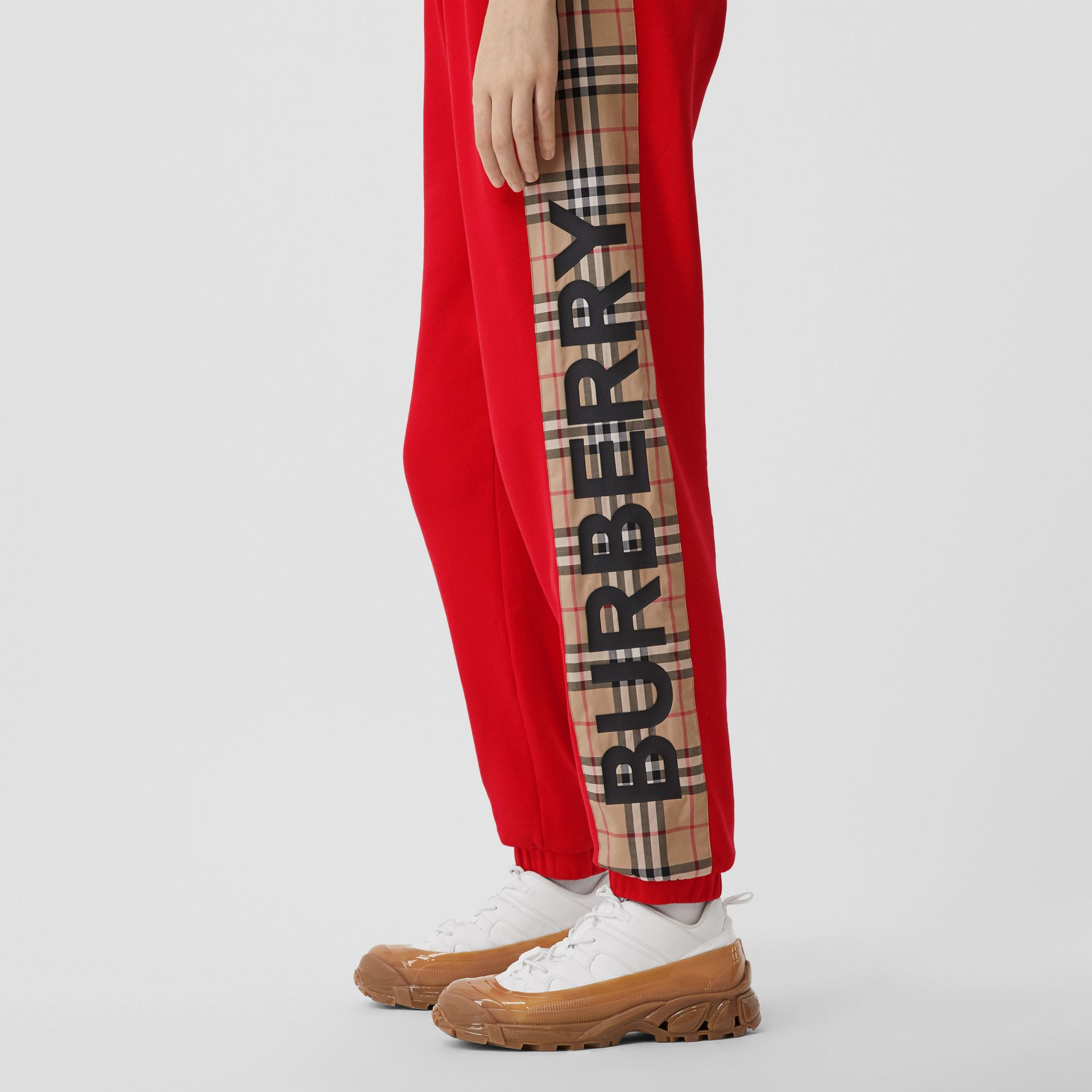 Vintage Check Panel Cotton Trackpants in Bright Red - Women | Burberry Hong Kong S.A.R - gallery image 1