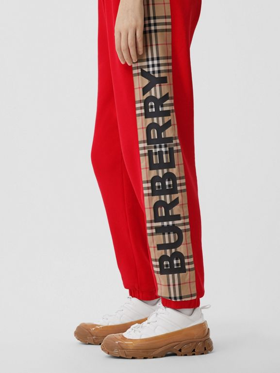 Vintage Check Panel Cotton Trackpants in Bright Red - Women | Burberry United Kingdom - cell image 1
