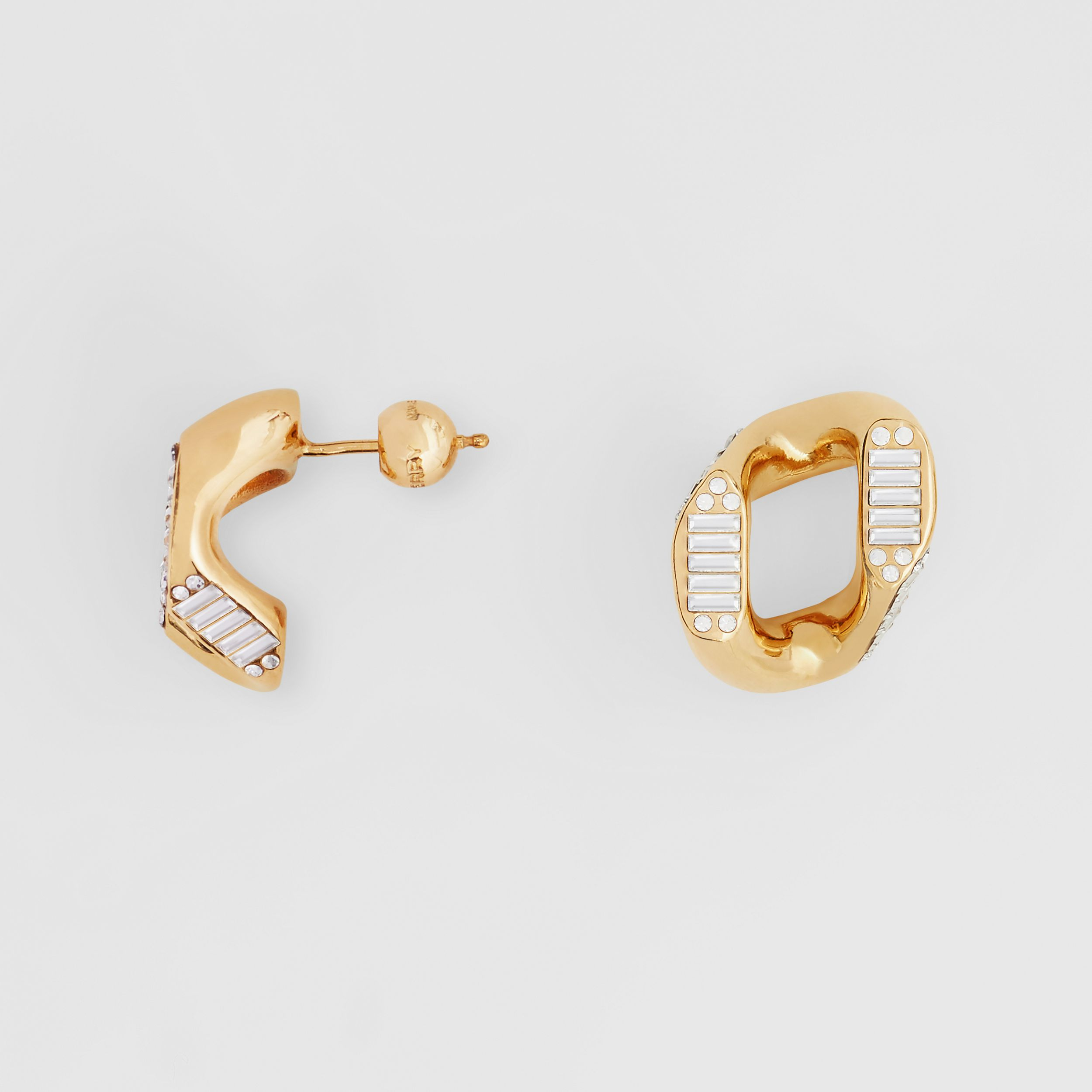 Crystal Gold-plated Chain-link Earrings – Online Exclusive - Women | Burberry - 2