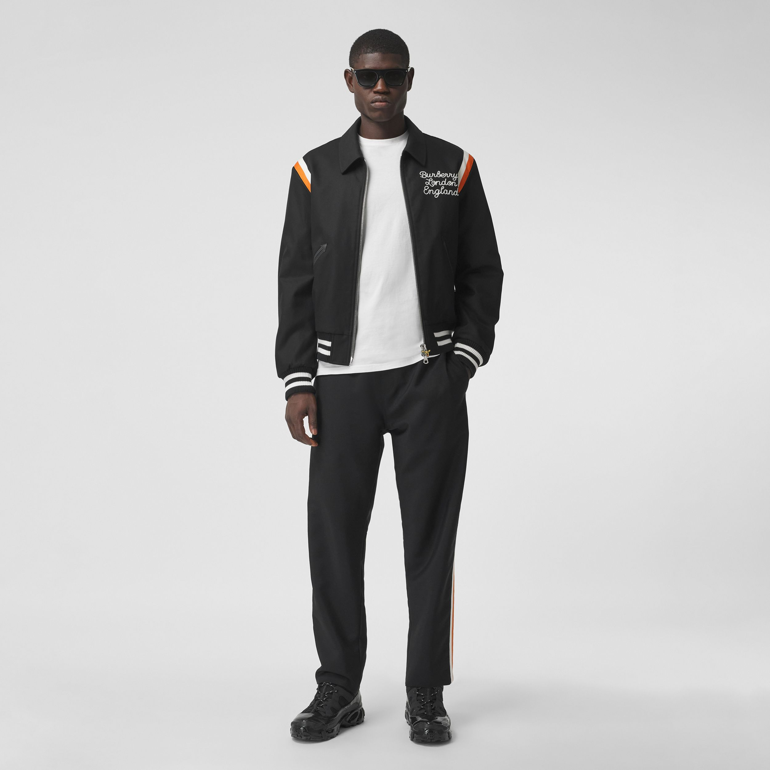 Embroidered Logo Cotton Gabardine Bomber Jacket in Black - Men | Burberry - 1