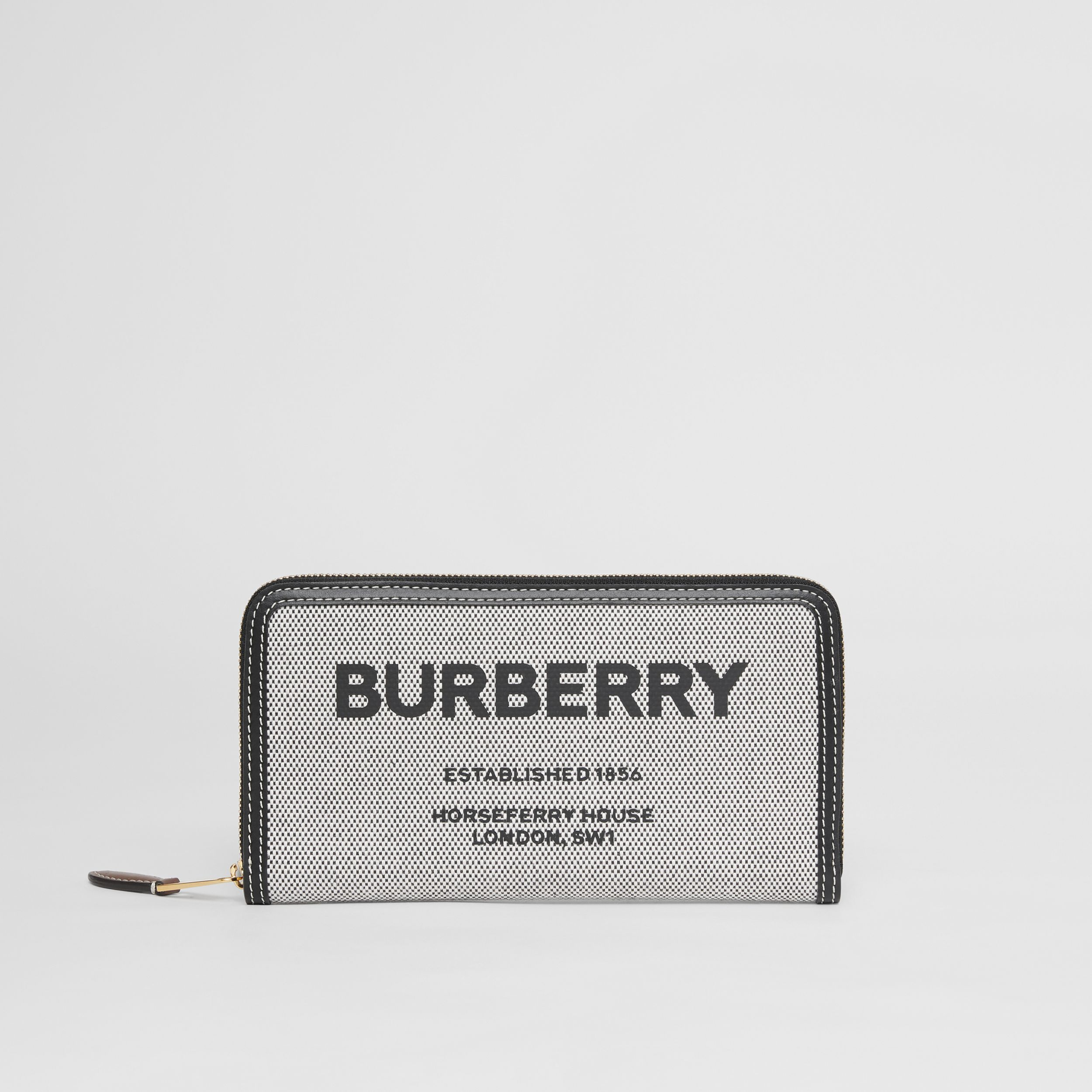 Horseferry Print Canvas and Leather Ziparound Wallet in Black/tan - Women | Burberry - 3