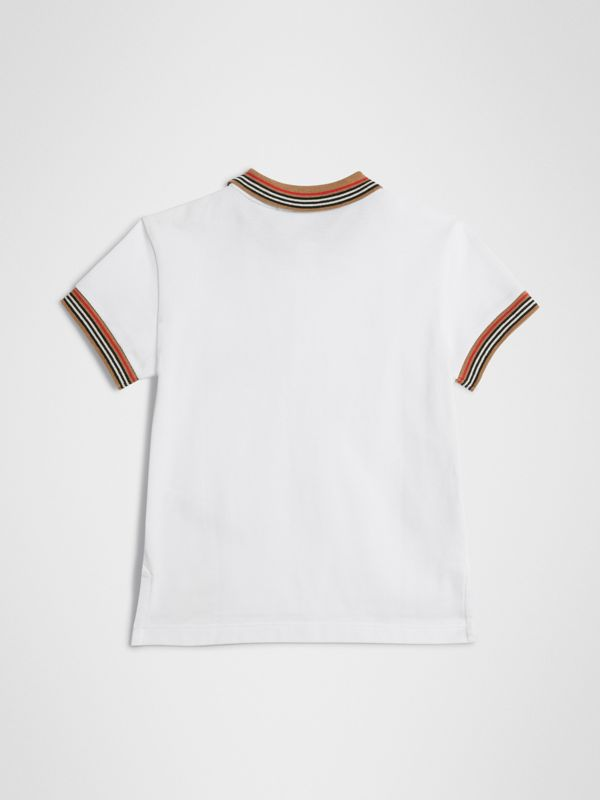 Icon Stripe Detail Cotton Polo Shirt in White | Burberry - cell image 3