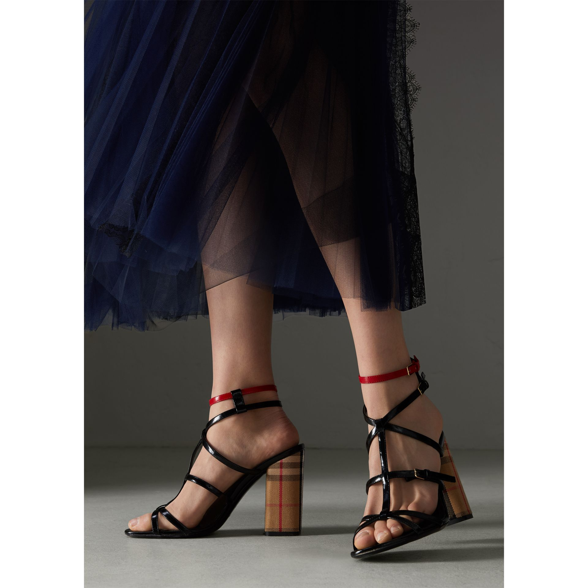 Vintage Check and Patent Leather Sandals in Black - Women | Burberry United Kingdom - gallery image 2