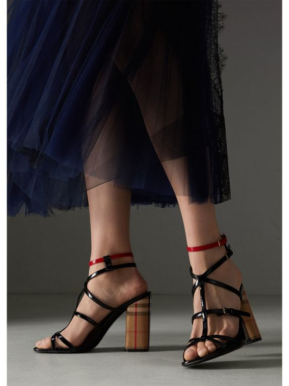 Vintage Check and Patent Leather Sandals in Black - Women | Burberry Singapore - cell image 2