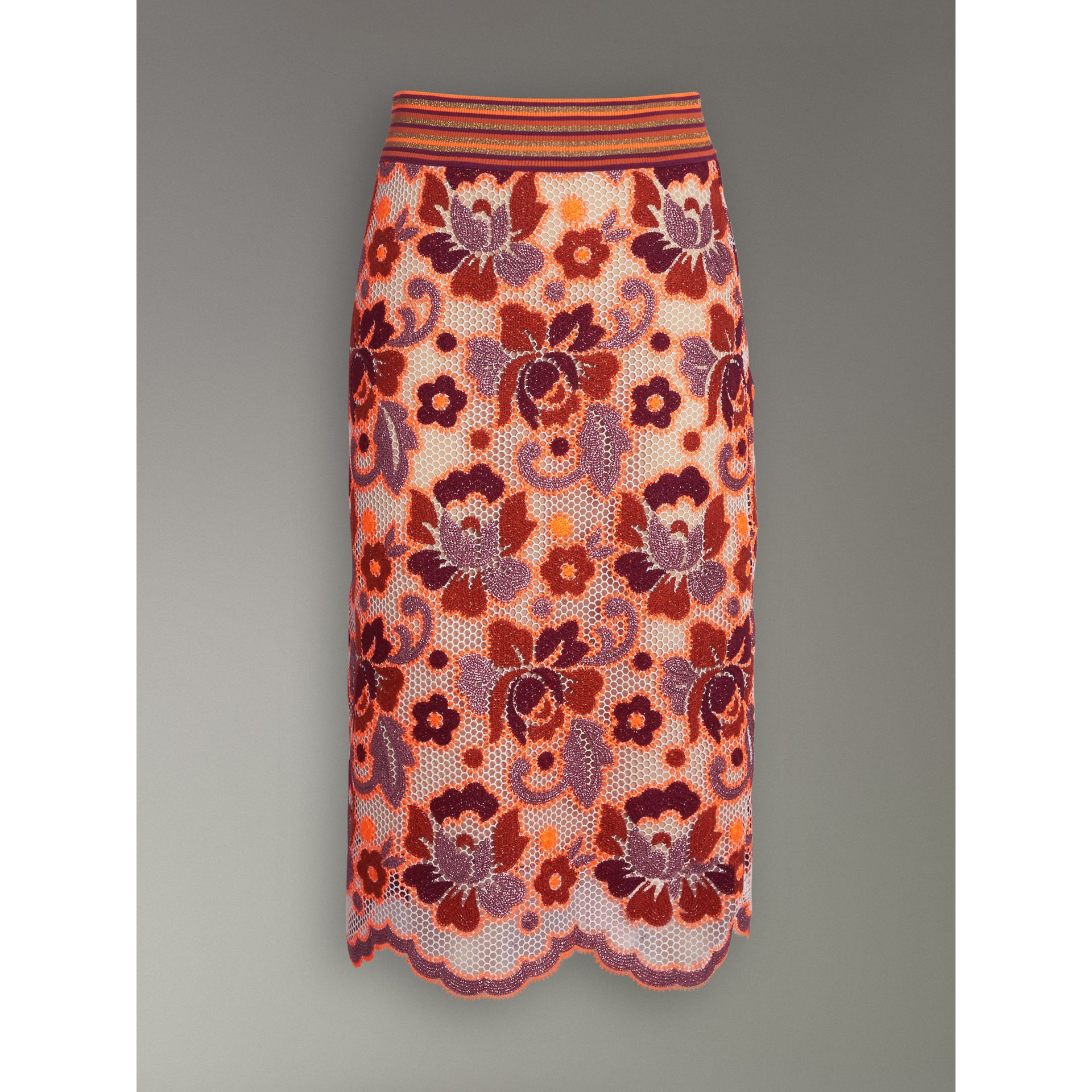Floral Crochet Fitted Skirt in Bright Orange - Women | Burberry - gallery image 3