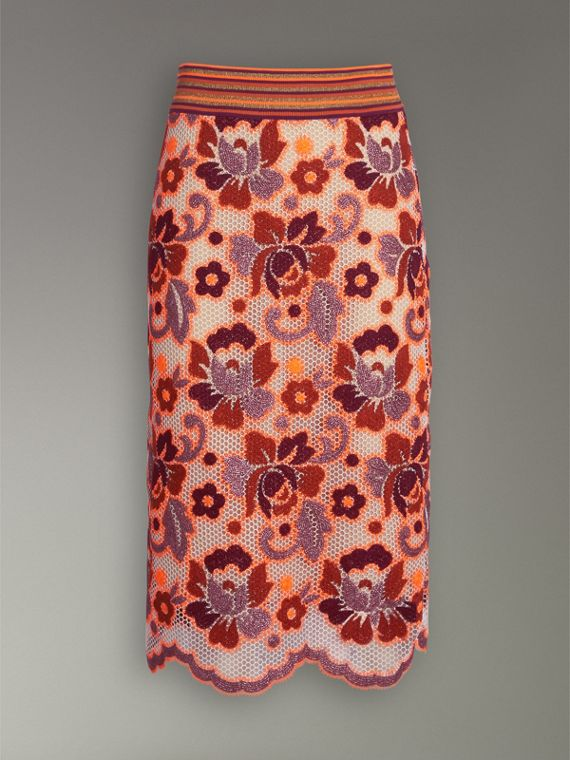 Floral Crochet Fitted Skirt in Bright Orange - Women | Burberry - cell image 3