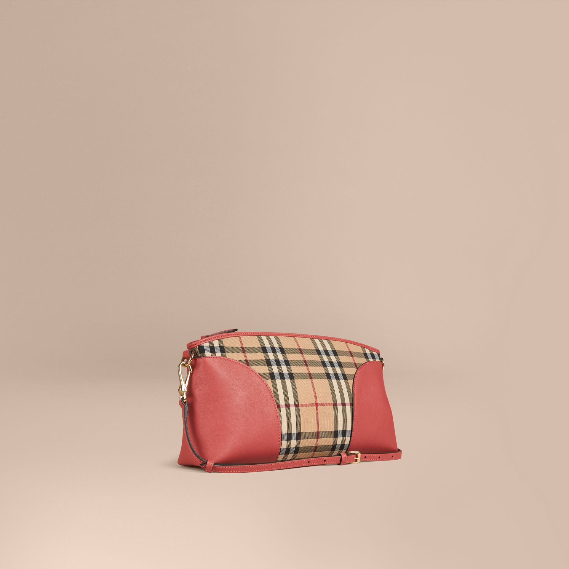 Horseferry Check and Leather Clutch Bag in Honey/antique Rose - gallery image 1