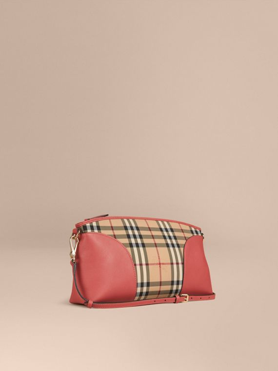 Horseferry Check and Leather Clutch Bag Honey/antique Rose