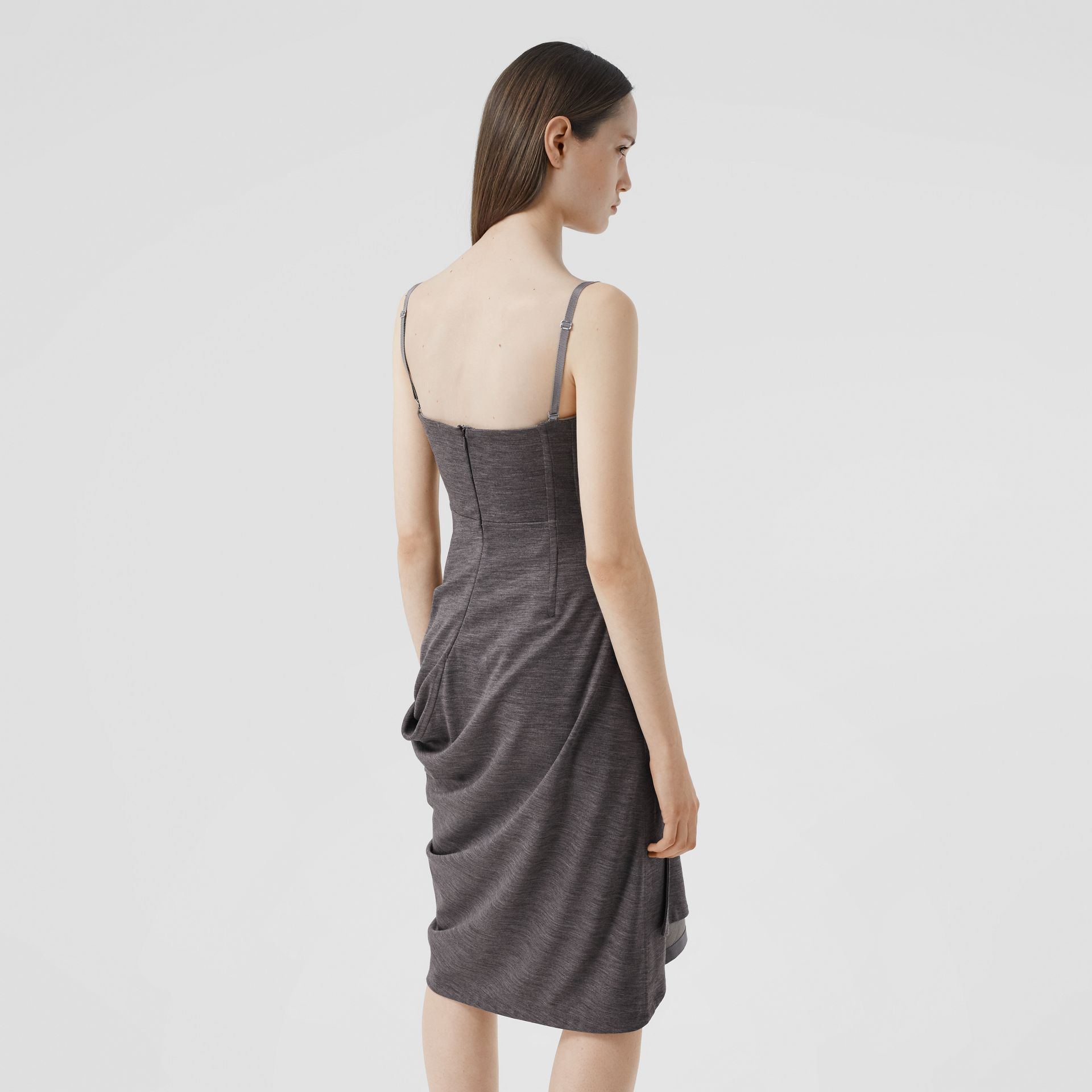 Asymmetric Technical Wool Corset Dress in Charcoal Grey | Burberry United Kingdom - gallery image 2