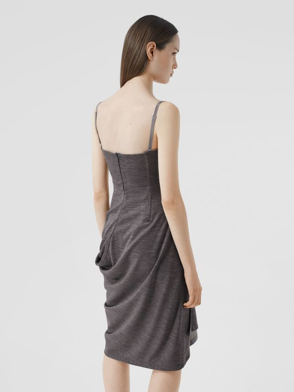 Asymmetric Technical Wool Corset Dress in Charcoal Grey | Burberry United Kingdom - cell image 2