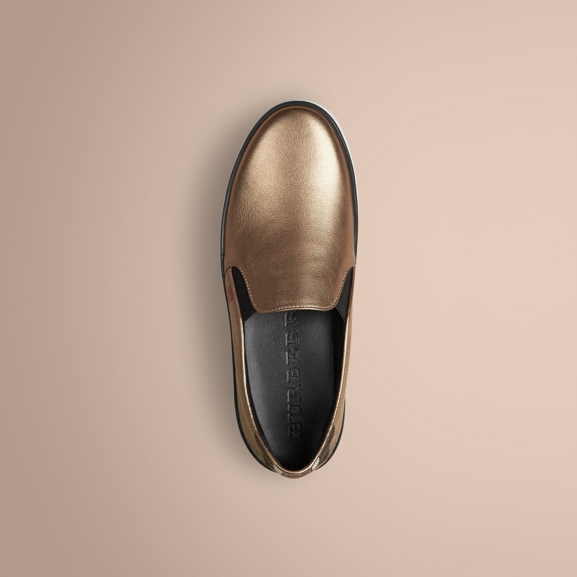 Heritage gold Check and Leather Slip-on Trainers - gallery image 3