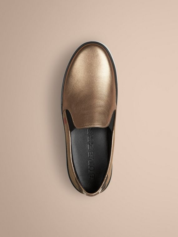 Heritage gold Check and Leather Slip-on Trainers - cell image 2