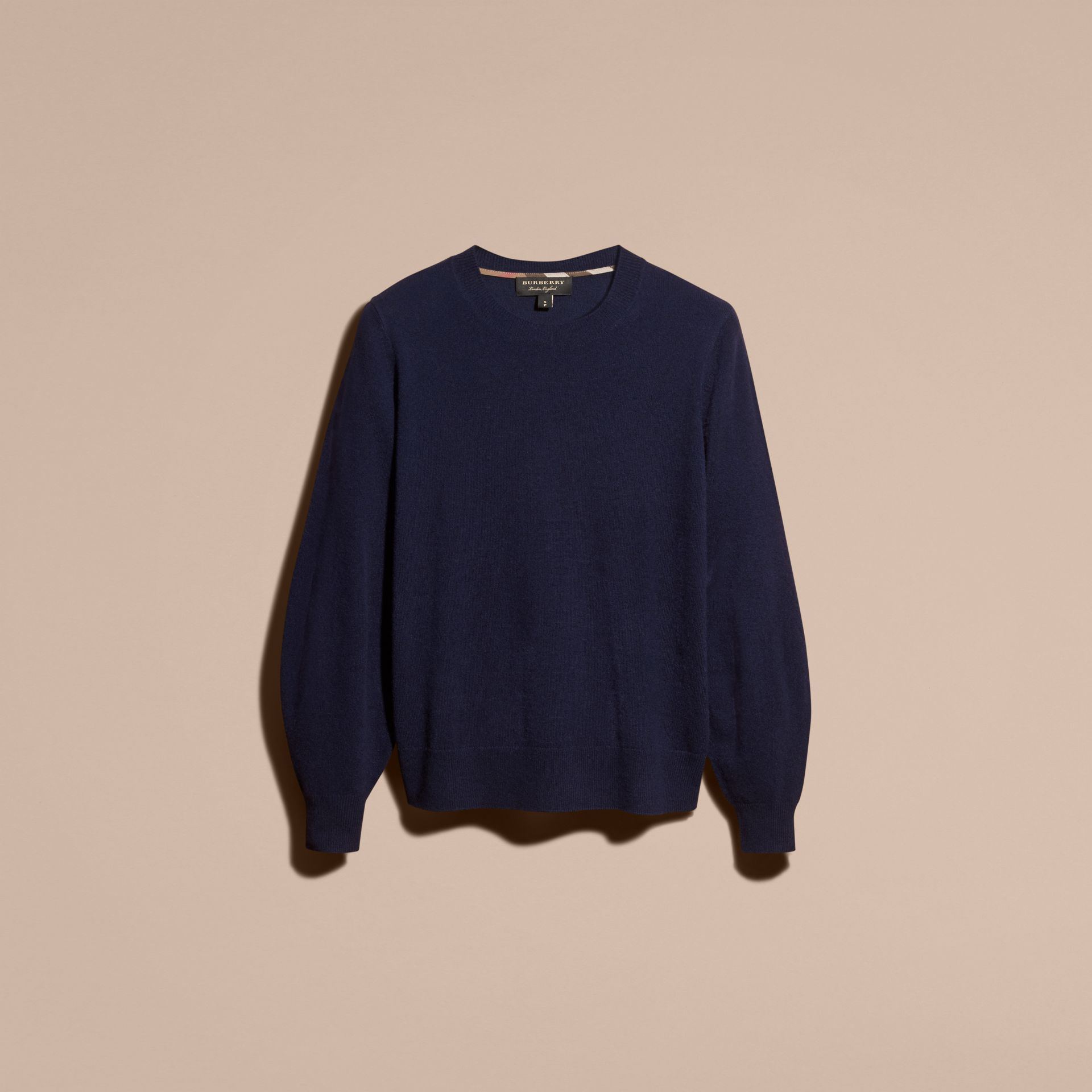 Navy Puff-sleeved Cashmere Sweater Navy - gallery image 3