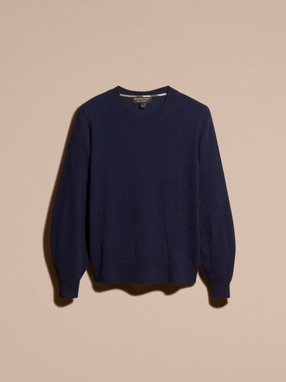 Navy Puff-sleeved Cashmere Sweater Navy - cell image 2